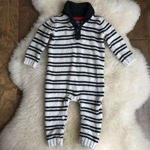Oshkosh knit sweater striped romper